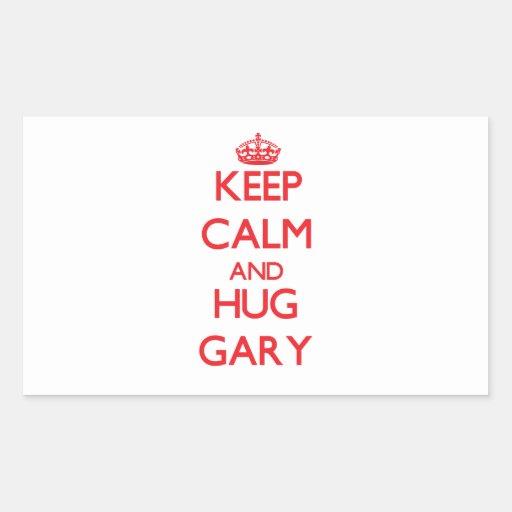 Mantenga tranquilo y ABRAZO Gary Pegatina Rectangular