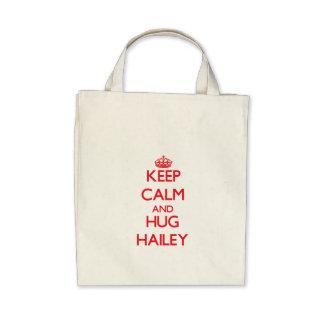 Mantenga tranquilo y abrazo Hailey Bolsa Lienzo