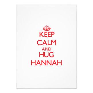 Mantenga tranquilo y abrazo Hannah Invitacion Personalizada