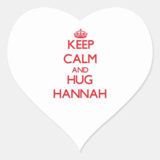 Mantenga tranquilo y abrazo Hannah Pegatina En Forma De Corazón