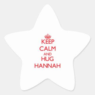 Mantenga tranquilo y abrazo Hannah Pegatina En Forma De Estrella