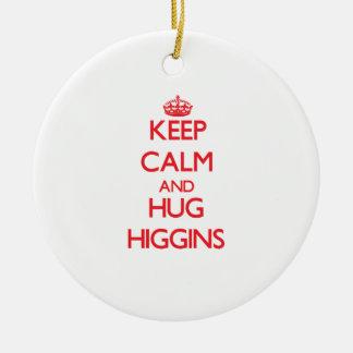 Mantenga tranquilo y abrazo Higgins Adorno Redondo De Cerámica