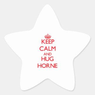 Mantenga tranquilo y abrazo Horne Pegatina Forma De Estrella