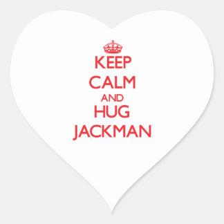 Mantenga tranquilo y abrazo Jackman Pegatina En Forma De Corazón