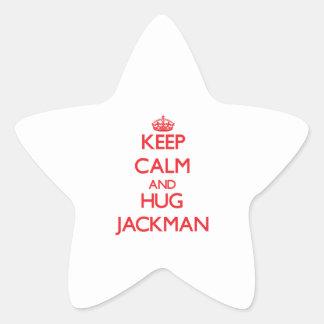 Mantenga tranquilo y abrazo Jackman Pegatina En Forma De Estrella