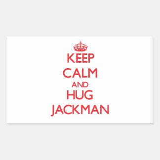 Mantenga tranquilo y abrazo Jackman Pegatina Rectangular