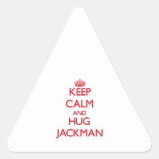 Mantenga tranquilo y abrazo Jackman Pegatina Triangular