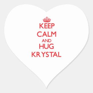 Mantenga tranquilo y abrazo Krystal Pegatina En Forma De Corazón