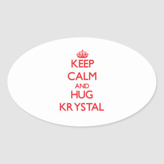Mantenga tranquilo y abrazo Krystal Pegatina Ovalada