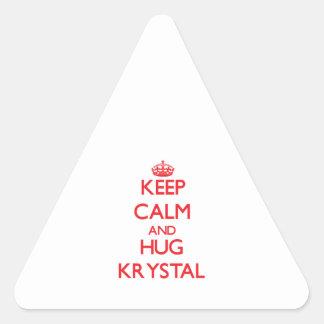 Mantenga tranquilo y abrazo Krystal Pegatina Triangular