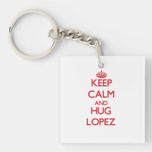 Mantenga tranquilo y abrazo López Llaveros