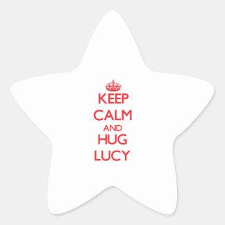 Mantenga tranquilo y abrazo Lucy Calcomanía Cuadrada