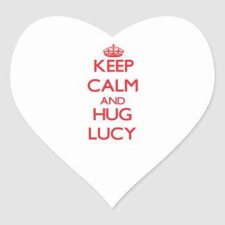 Mantenga tranquilo y abrazo Lucy Pegatina De Corazón