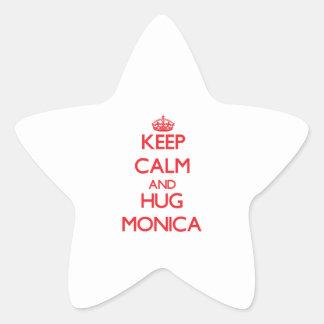 Mantenga tranquilo y abrazo Mónica Pegatina En Forma De Estrella