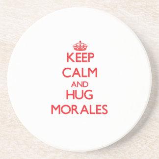 Mantenga tranquilo y abrazo Morales Posavasos Cerveza