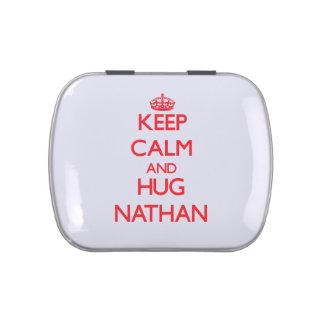 Mantenga tranquilo y ABRAZO Nathan Jarrones De Dulces