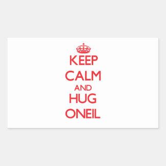 Mantenga tranquilo y abrazo Oneil Pegatina Rectangular
