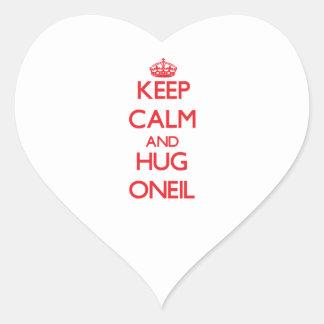 Mantenga tranquilo y abrazo Oneil Pegatina En Forma De Corazón