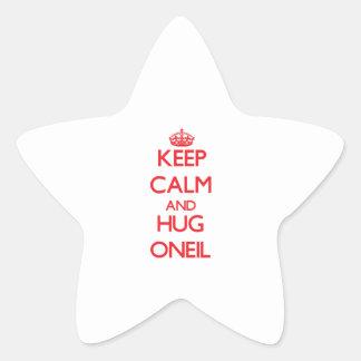 Mantenga tranquilo y abrazo Oneil Pegatina En Forma De Estrella