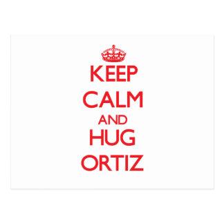 Mantenga tranquilo y abrazo Ortiz Postales