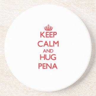 Mantenga tranquilo y abrazo Pena Posavasos Personalizados