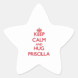Mantenga tranquilo y abrazo Priscilla Colcomanias Forma De Estrella Personalizadas