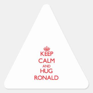 Mantenga tranquilo y ABRAZO Ronald Colcomanias De Triangulo