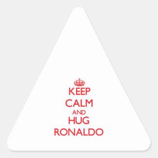 Mantenga tranquilo y ABRAZO Ronaldo Calcomanías De Triangulos Personalizadas