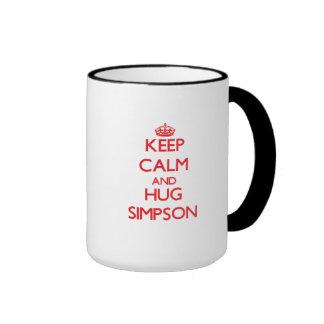 Mantenga tranquilo y abrazo Simpson Taza De Dos Colores