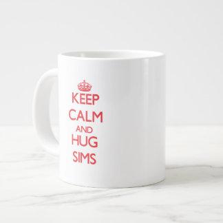 Mantenga tranquilo y abrazo Sims Tazas Extra Grande