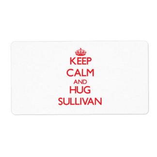 Mantenga tranquilo y abrazo Sullivan Etiqueta De Envío