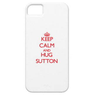 Mantenga tranquilo y abrazo Sutton iPhone 5 Case-Mate Protectores