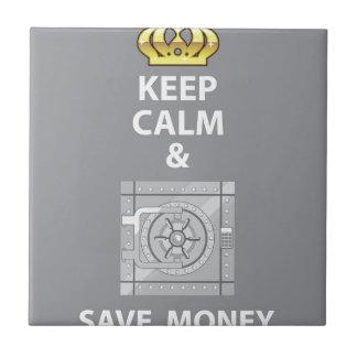 Mantenga tranquilo y ahorre el vector del dinero azulejo cuadrado pequeño