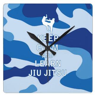 Mantenga tranquilo y aprenda Jiu Jitsu Reloj De Pared