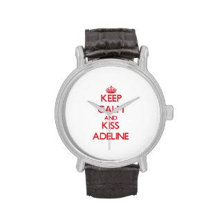 Mantenga tranquilo y beso Adelina Reloj De Mano