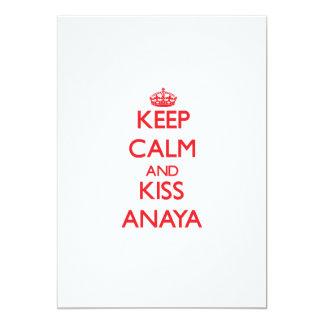 """Mantenga tranquilo y beso Anaya Invitación 5"""" X 7"""""""