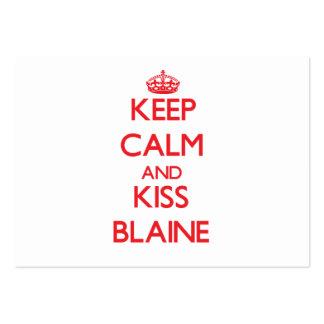 Mantenga tranquilo y beso Blaine Tarjetas De Visita Grandes