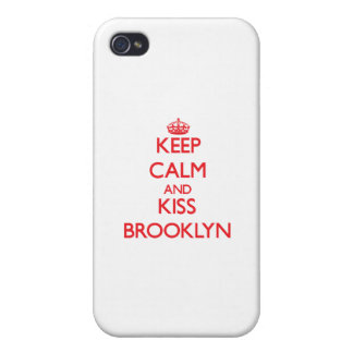 Mantenga tranquilo y beso Brooklyn iPhone 4 Protectores