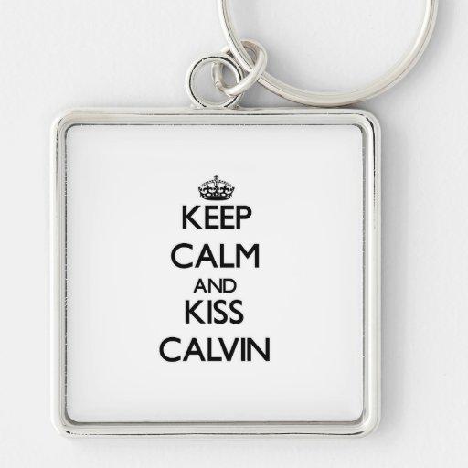Mantenga tranquilo y beso Calvin Llaveros Personalizados