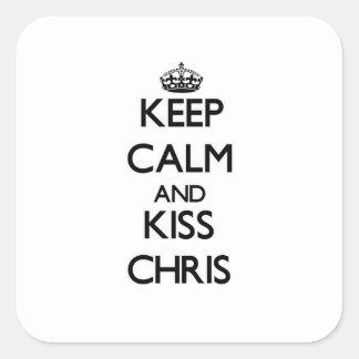 Mantenga tranquilo y beso Chris Pegatinas Cuadradases Personalizadas