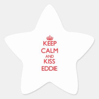 Mantenga tranquilo y beso Eddie Pegatina En Forma De Estrella