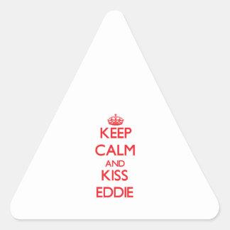 Mantenga tranquilo y beso Eddie Pegatina Triangular