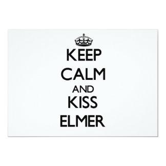 Mantenga tranquilo y beso Elmer Invitación 12,7 X 17,8 Cm