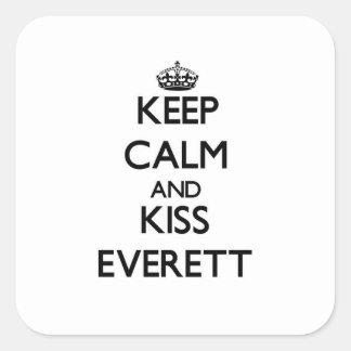 Mantenga tranquilo y beso Everett Calcomanías Cuadradass