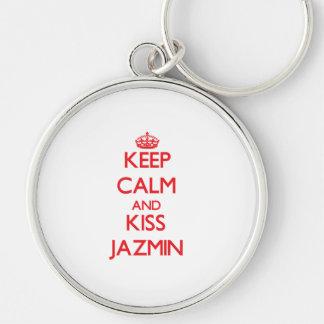 Mantenga tranquilo y beso Jazmin Llaveros Personalizados