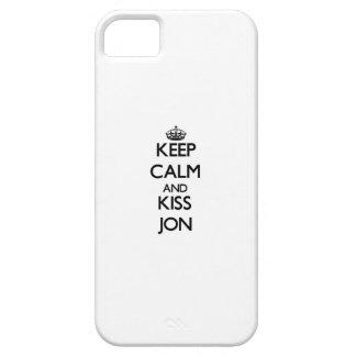 Mantenga tranquilo y beso Jon iPhone 5 Case-Mate Carcasas