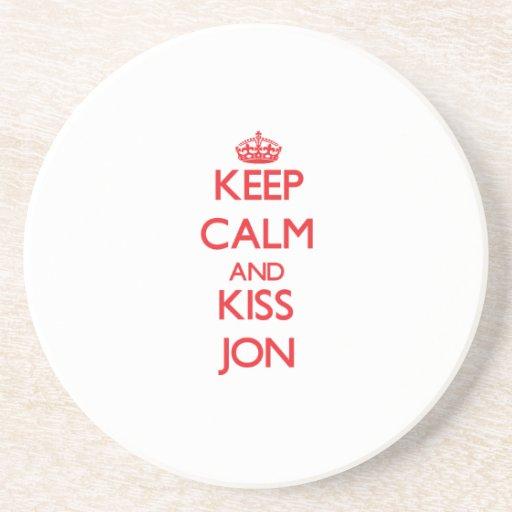 Mantenga tranquilo y beso Jon Posavasos Manualidades