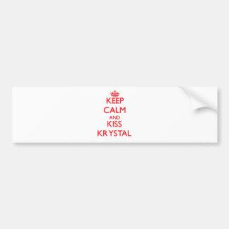 Mantenga tranquilo y beso Krystal Etiqueta De Parachoque