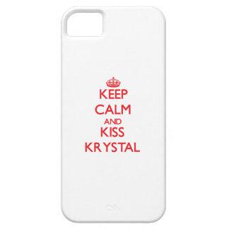 Mantenga tranquilo y beso Krystal iPhone 5 Carcasa
