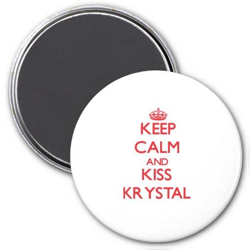 Mantenga tranquilo y beso Krystal Imán Para Frigorifico